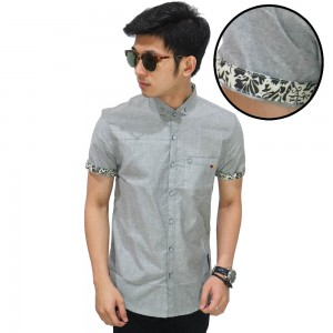 Kemeja Pendek Oxford List Batik Soft Grey