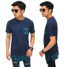 Longline T-Shirt Bottom Tartan Square Navy