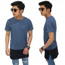 Longline T-Shirt Two Tone Zipper Blue