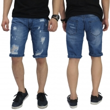 Celana Pendek Denim Spotting Ripped Blue