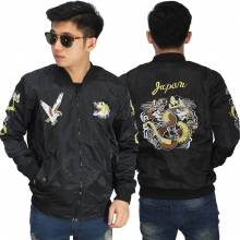 Jaket Bomber Sukajan Japan Dragon Black