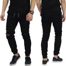 Jogger Jeans Ripped Soft Damage Black