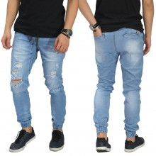 Jogger Jeans Ripped Soft Damage Soft Blue