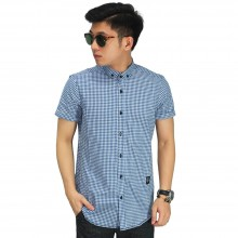 Kemeja Pendek Formal Gingham Blue