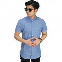 Kemeja Pendek Grandad Collar Basic Oxford Blue