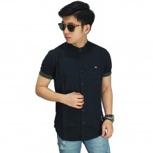 Kemeja Pendek Grandad Collar With List Black