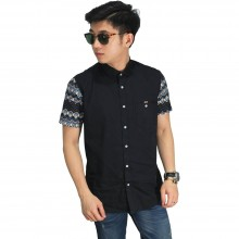 Kemeja Pendek Sleeve Batik Tenun Black