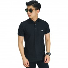 Polo Grandad Collar Basic Black