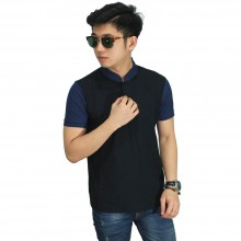 Polo Grandad Collar Black Sleeve Navy