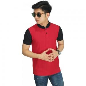 Polo Grandad Collar Red Sleeve Black