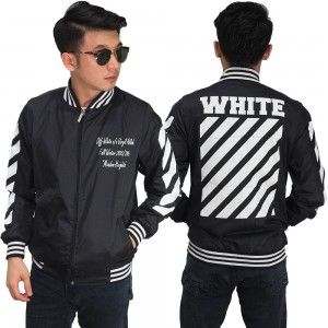 Jaket Bomber Off White Diag Black