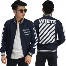 Jaket Bomber Off White Diag Navy