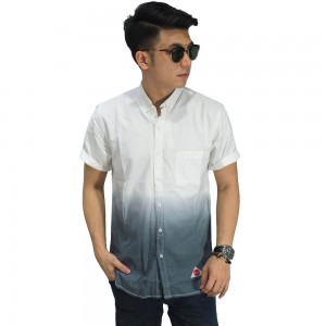 Kemeja Denim Pendek Gradation White And Grey