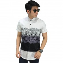 Kemeja Pendek Reflection Motif Broken White