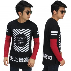 Longline Double Layer Kanji Typography Black