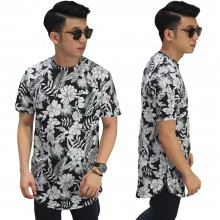 Longline T-Shirt Floral Tropic Black