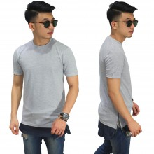 Longline T-Shirt Two Tone Zipper Soft Grey