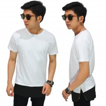 Longline T-Shirt Two Tone Zipper White