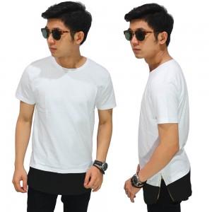 Longline T-Shirt Two Tone Zipper White
