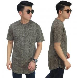 Longline T-Shirt Zig Zag Brown