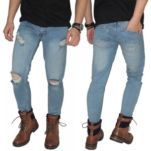 Celana Jeans Ripped On Knee and Thigh Dirty Blue