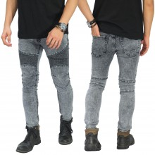 Biker Jeans Maskulin Snow Wash Grey