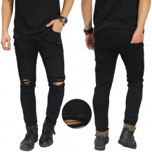 Biker Jeans Thigh And Knee Rips Black