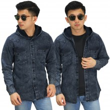 Kemeja Denim Hooded Dark Grey