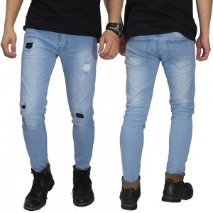 Celana Jeans Ripped and Repair Light Blue