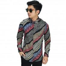Kemeja Batik Elegant Gradasi Maroon