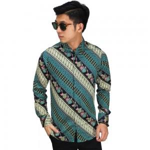 Kemeja Batik Parang Modern Gradasi Tosca