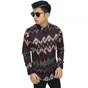 Kemeja Batik Zigzag Tenun Maroon