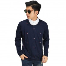 Kemeja Fake With Sweater Navy