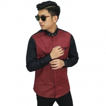 Kemeja Formal Two Combination Maroon