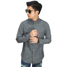 Kemeja Oxford Pocket Ribbon Stripe Dark Grey
