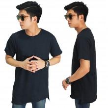 Longline Asymmetric T-Shirt Black