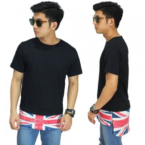 Longline T-Shirt With England Flag Black