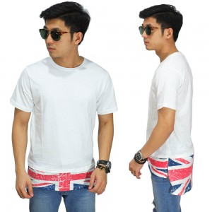 Longline T-Shirt With England Flag White