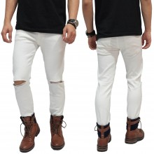 Celana Jeans Ripped On Knee White