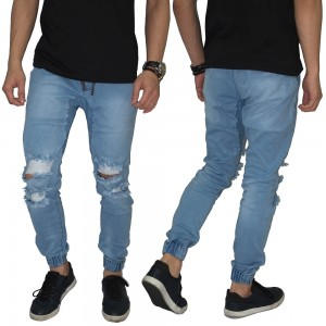 Celana Jogger Jeans Double Hole Ripped Soft Blue