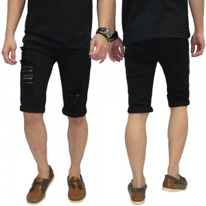 Celana Pendek Denim Ripped Destroyed Black