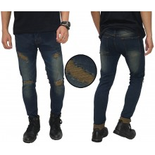 Jeans With Thigh And Knee Rips Biowash Brown