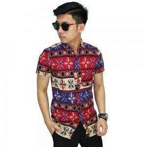 Kemeja Batik Pendek Songket Modern Red