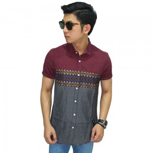 Kemeja Pendek Batik Mix Stripe Maroon