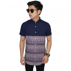 Kemeja Pendek Mix Soft Tribal Navy