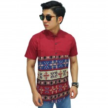 Kemeja Pendek Under Motif Tribal Red