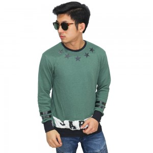 Sweatshirt Stars Circle Green
