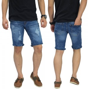 Celana Pendek Denim 3 Ripped Blue
