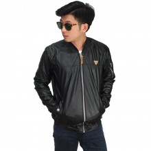 Jaket Bomber Leather Black