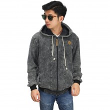 Jaket Hoodie Oversized Black Washed